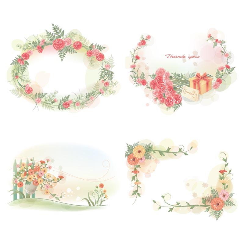 Fair flower frames set vector