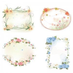 Lovely flowers frames set vector