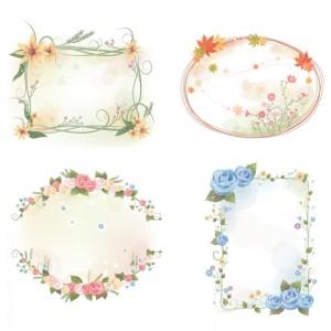Lovely flowers frames set vector