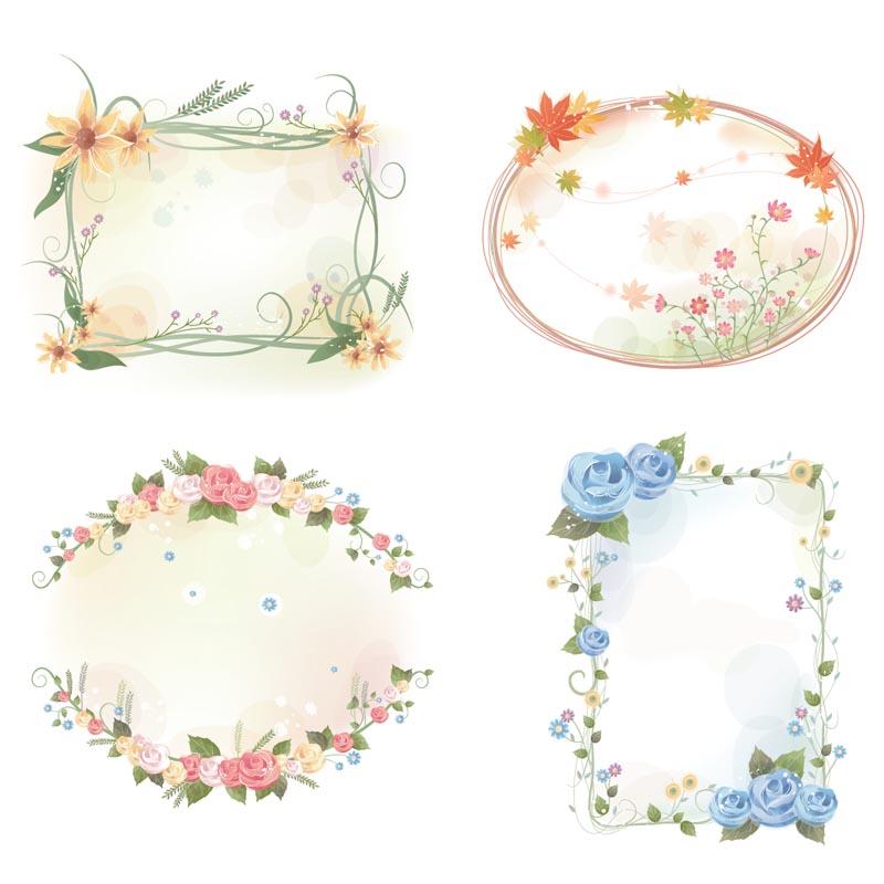 lovely flower frames set vector