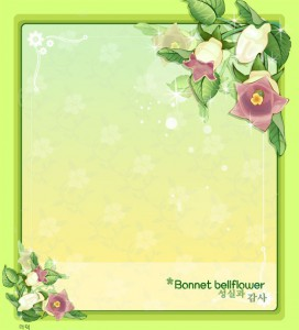 Bonnet bellflower frame vector