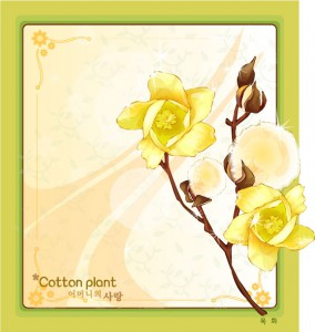 Cotton plant floral frame vector