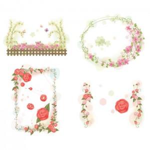 Cute flower frames set vector