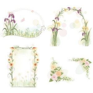 Elegant flowers frames set vector