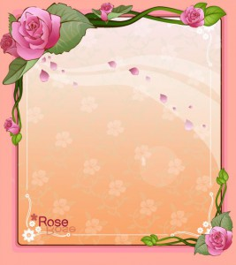 Fair Rose flower vector frame