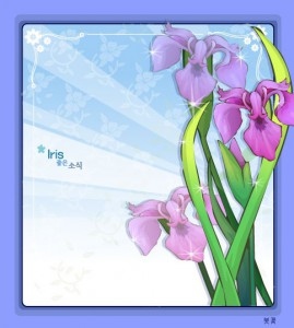 Iris flower frame vector