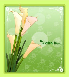 Magic spring flower frame vector