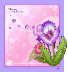 Pansy flower frame vector