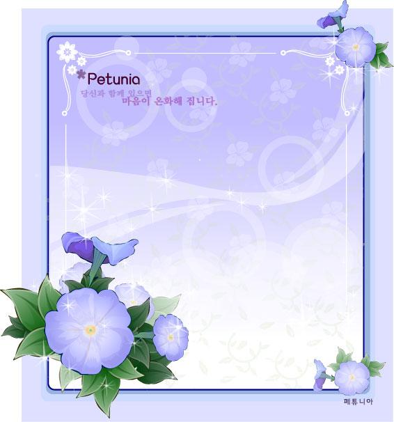 petunia flower frame vector