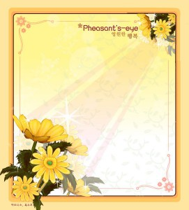 Pheasant's eye flower frame vector