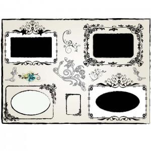 Vintage flower frames set vector