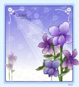 Violet flower frame vector
