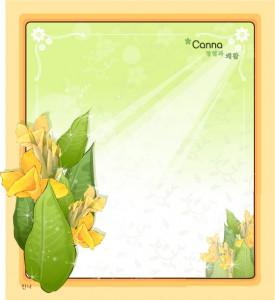 Canna flower frame vector