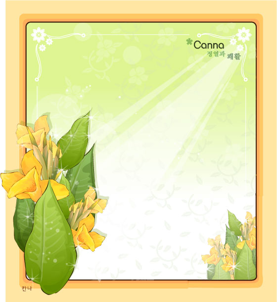 Canna flower frame vector | Free download