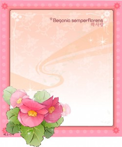 Lovely pink flowers frame vector