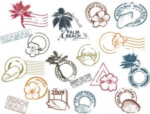 Postal-stamps-set-vector