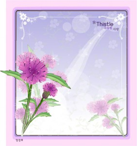 Thistle floral frame vector