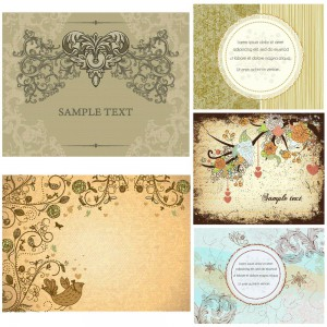Antique ornate cards set vector