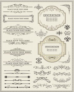 Calligraphic decorative elements set vector