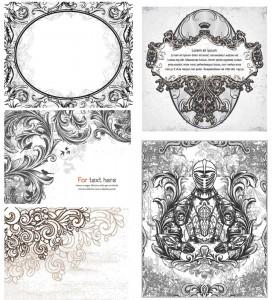 Ornamental floral vintage elements set vector