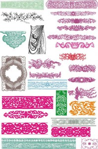 Simple decorative ornament set vector