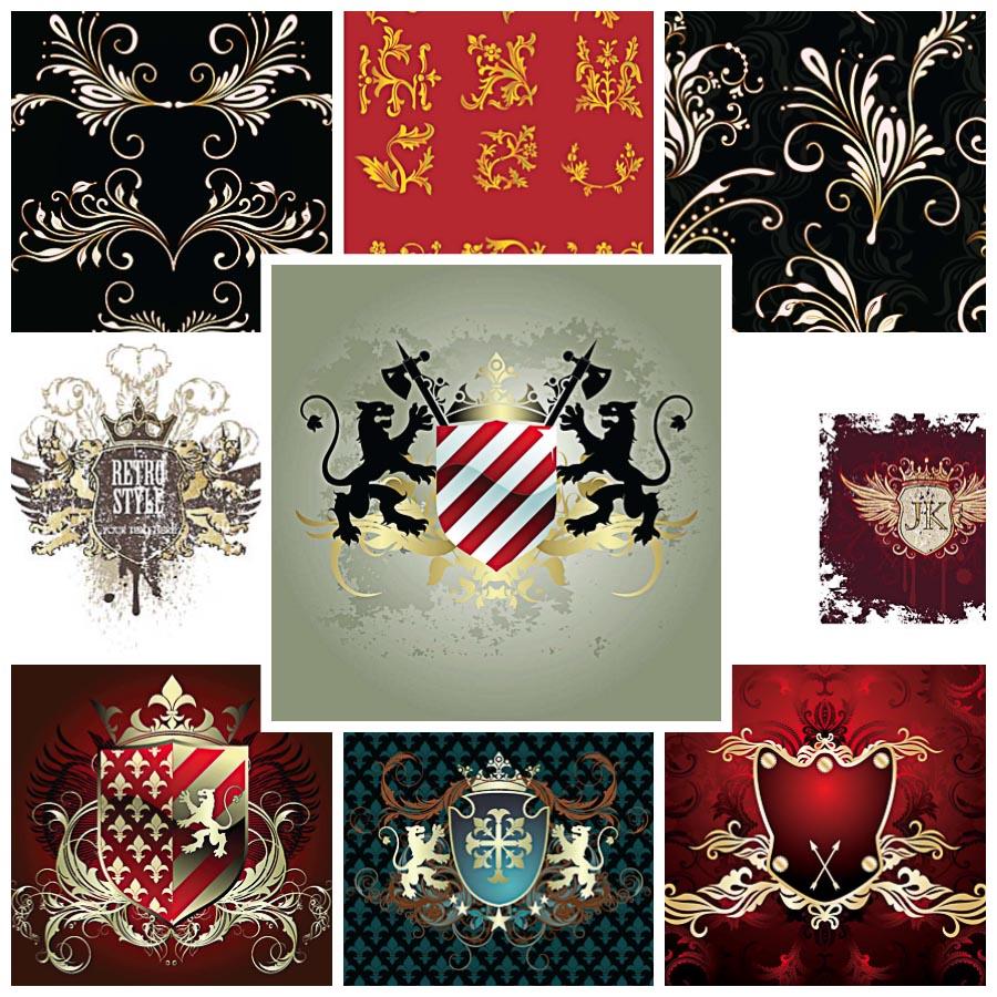 Ornate heraldic shields set vector