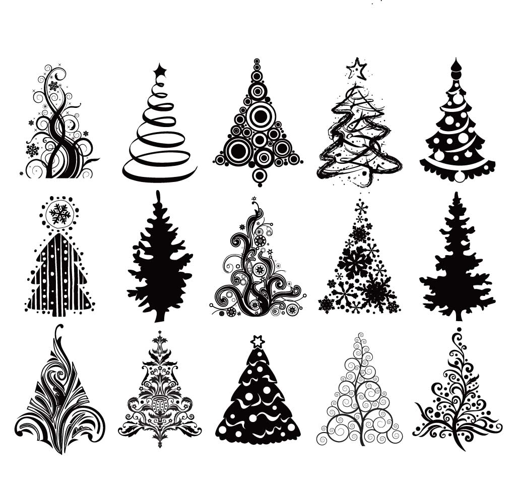 Set Of Christmas Trees Vector Free Download