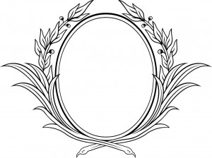 monochrome floral frame vector
