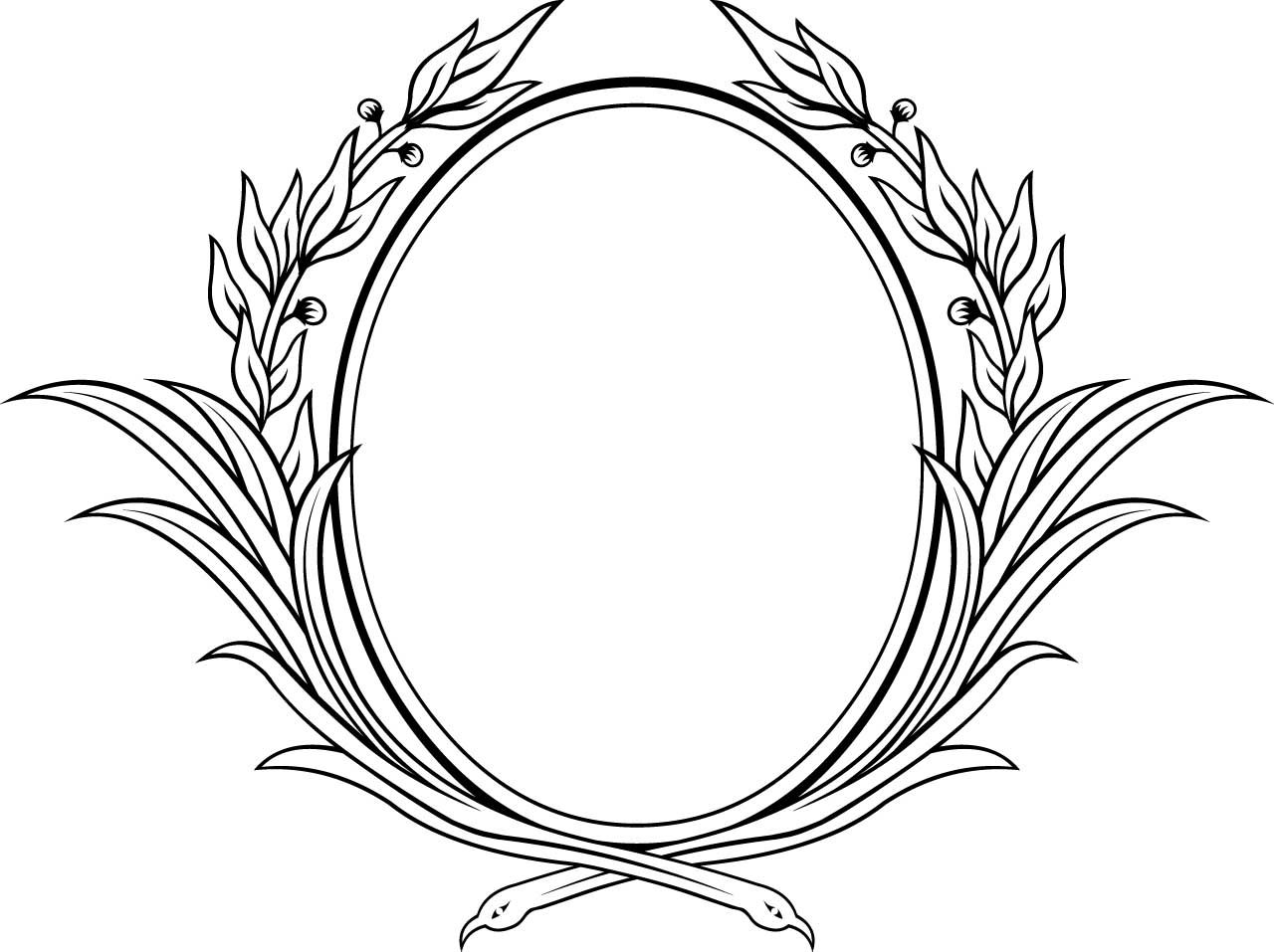Decorative oval floral vector frame | Free download