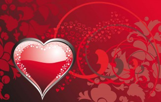 Elegant heart red card vector