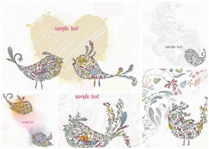 Floral birds cute card vector