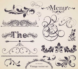 vector, floral elements, menu