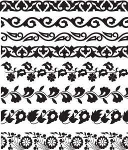 monochrome, seamless floral borders vector