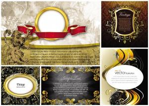 frames and gold vintage elements vector