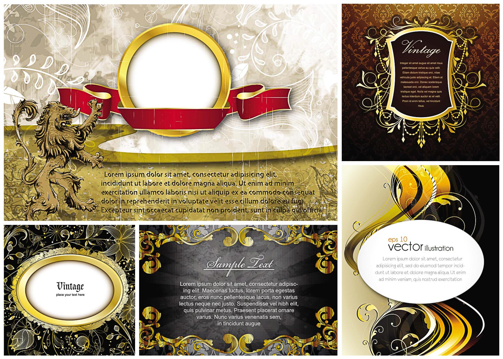 frames and gold vintage elements vector