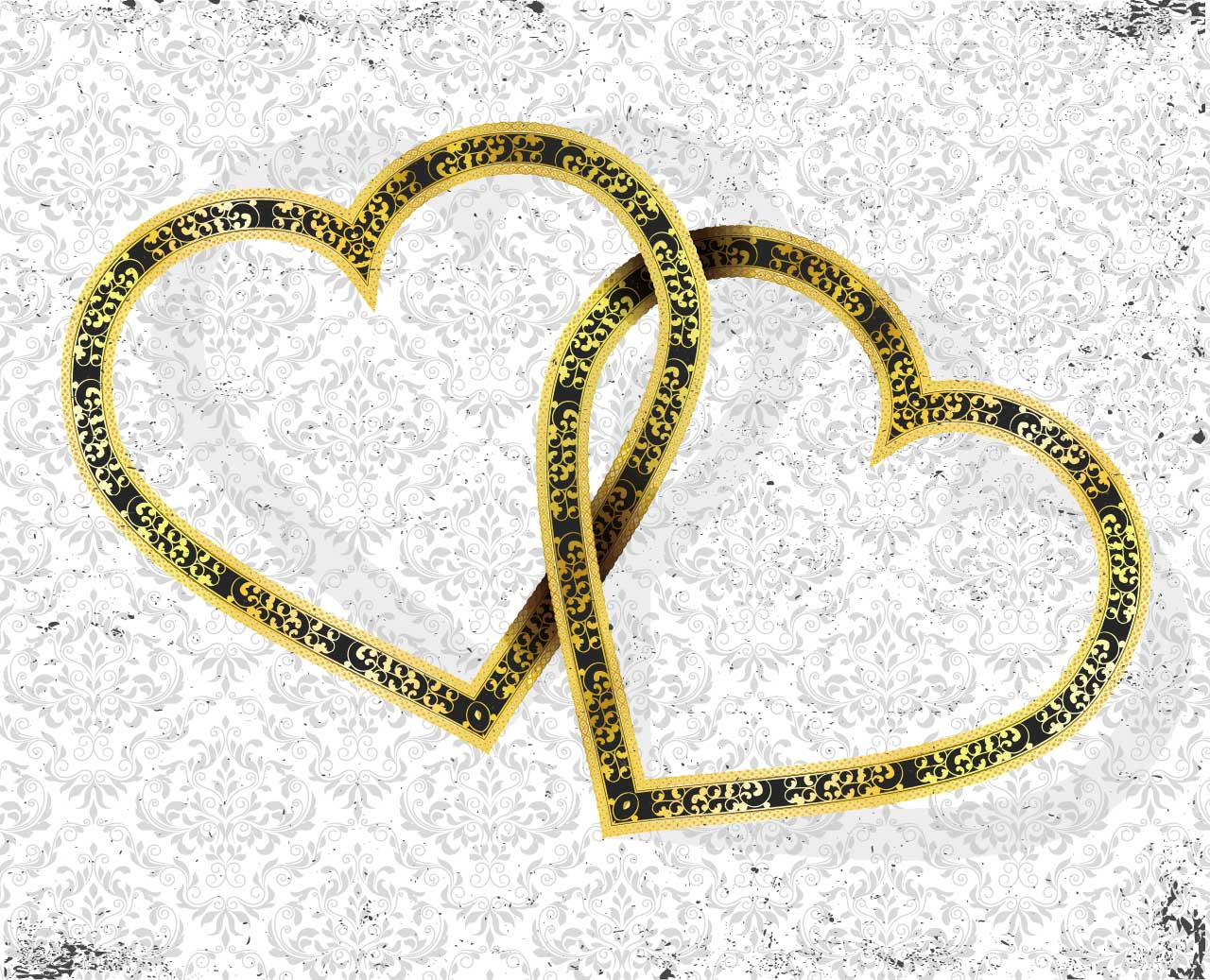 Golden hearts vector