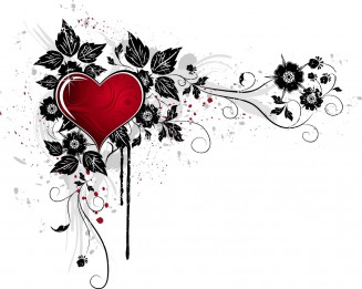 Grunge heart with floral background vector