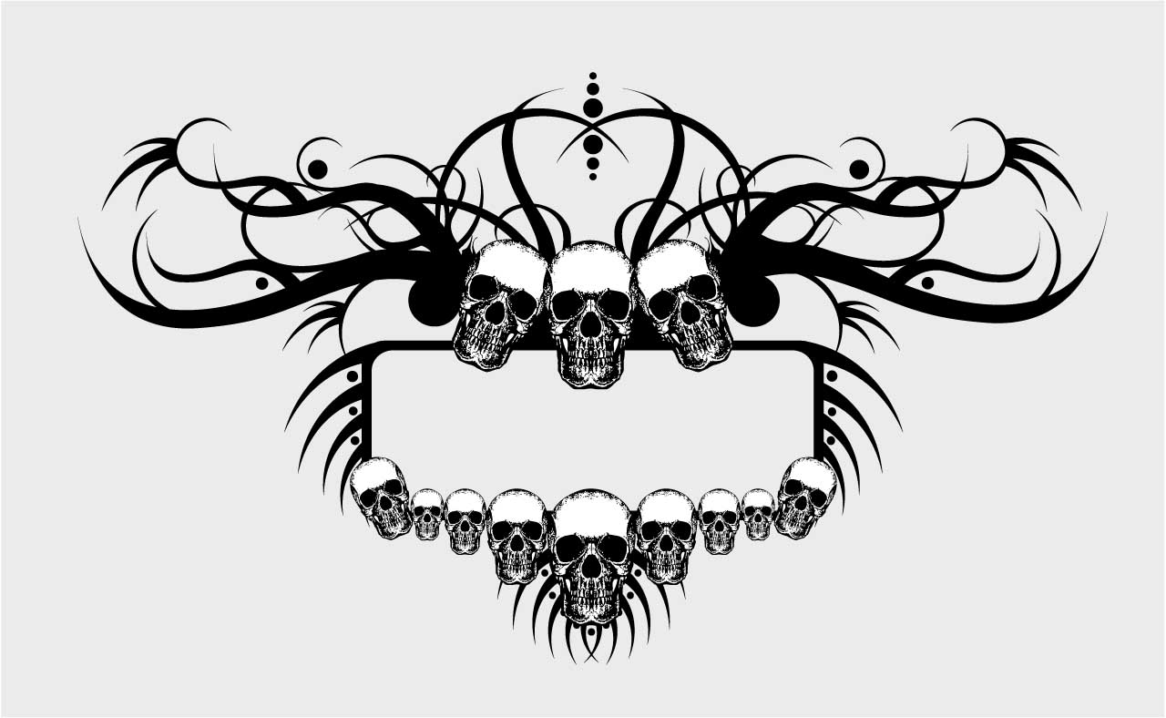 Grunge skulls frame vector | Free download