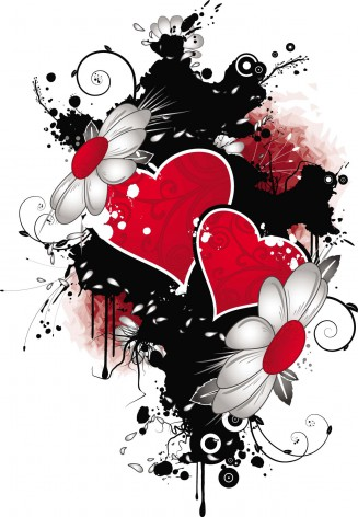 Hearts with flowers colorful vector