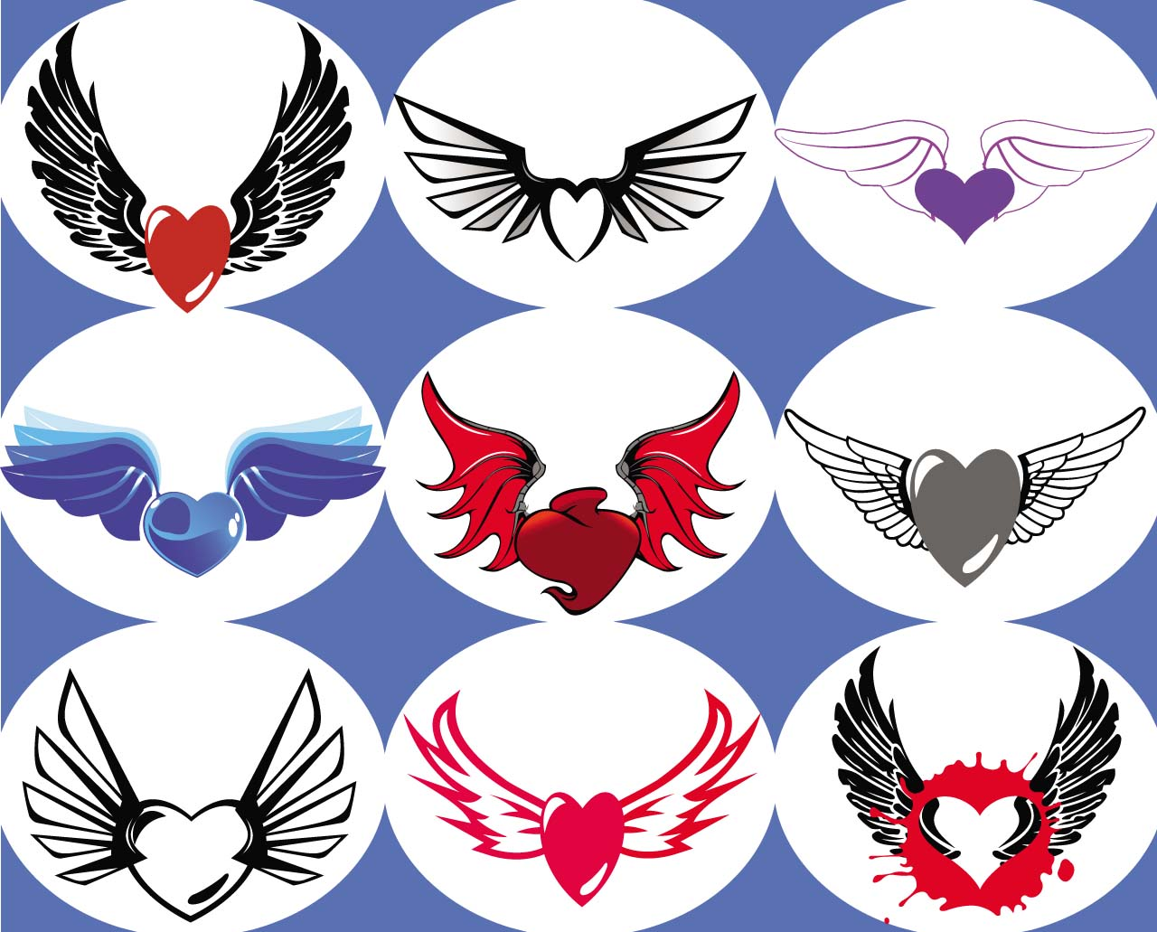 Hearts with wings set vector