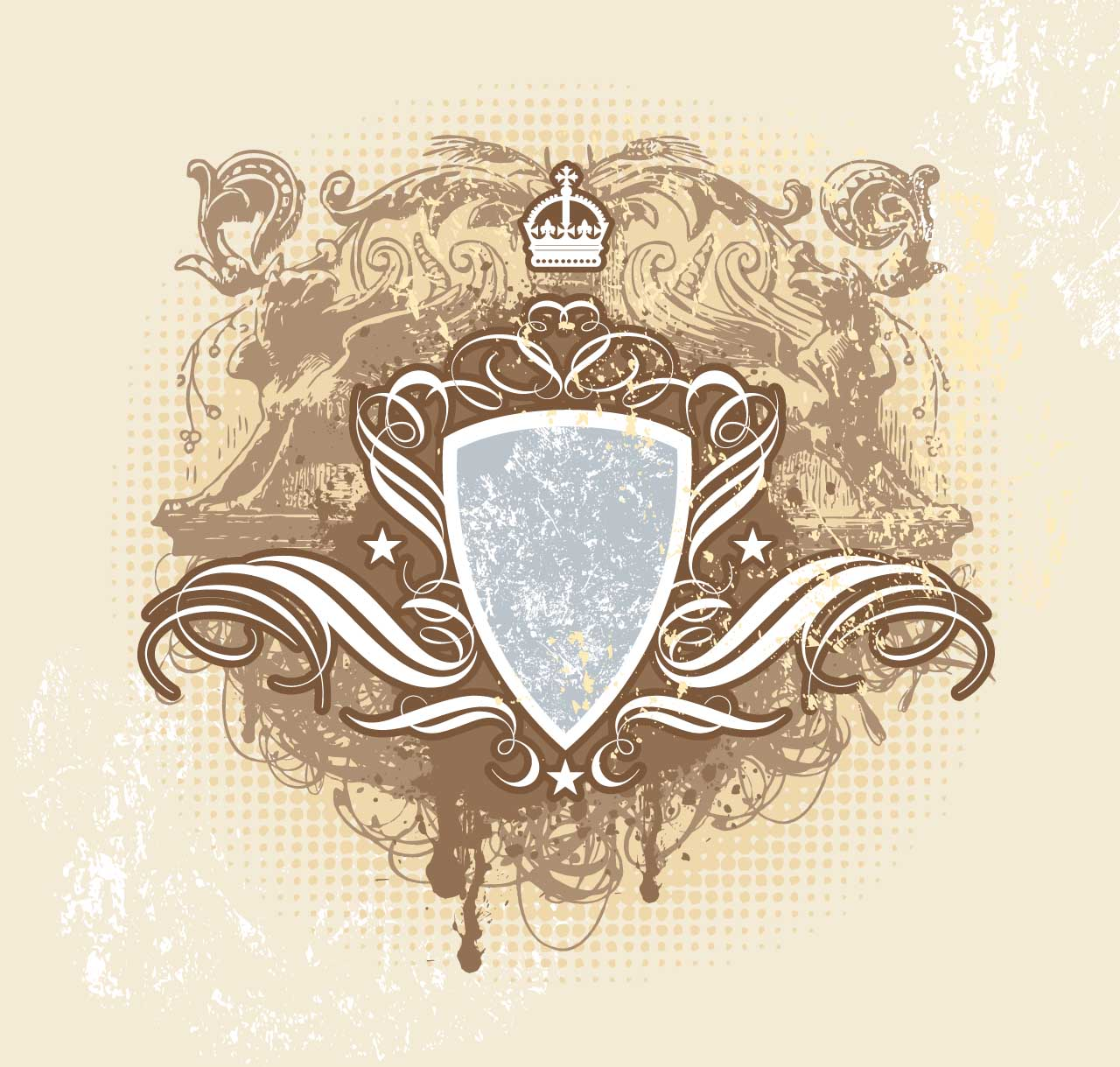 heraldic design shield vintage vector