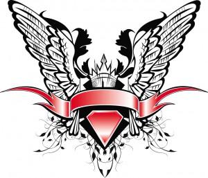 heraldic crown wings ribbon vector