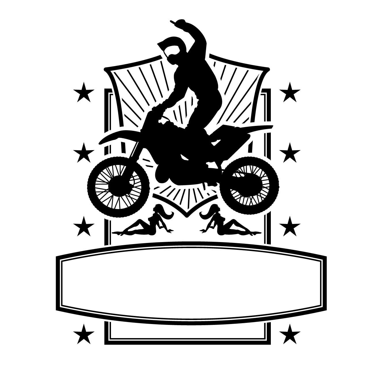 Motorbike jump frame stars vector