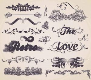 Ornaments inscription decorative elements