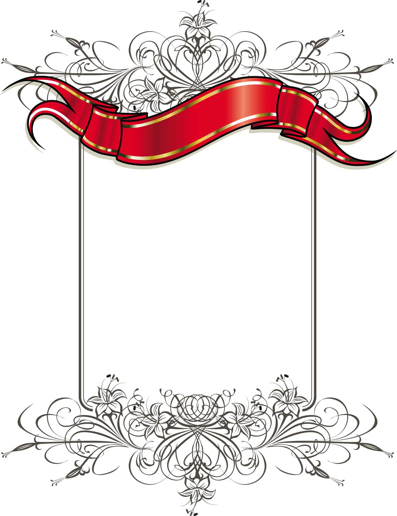Ornate card with gilded ribbon vector