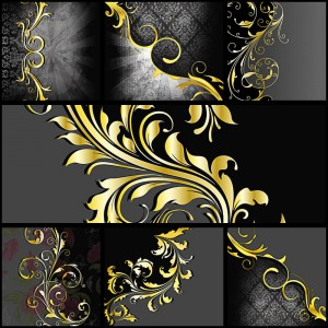 Ornate gold ornamental card vector
