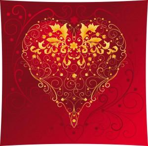 Ornate red heart vector