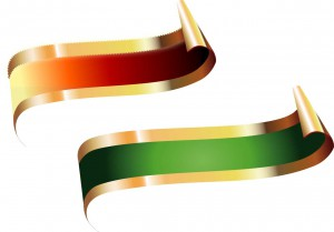 Red and green title ribbons vector