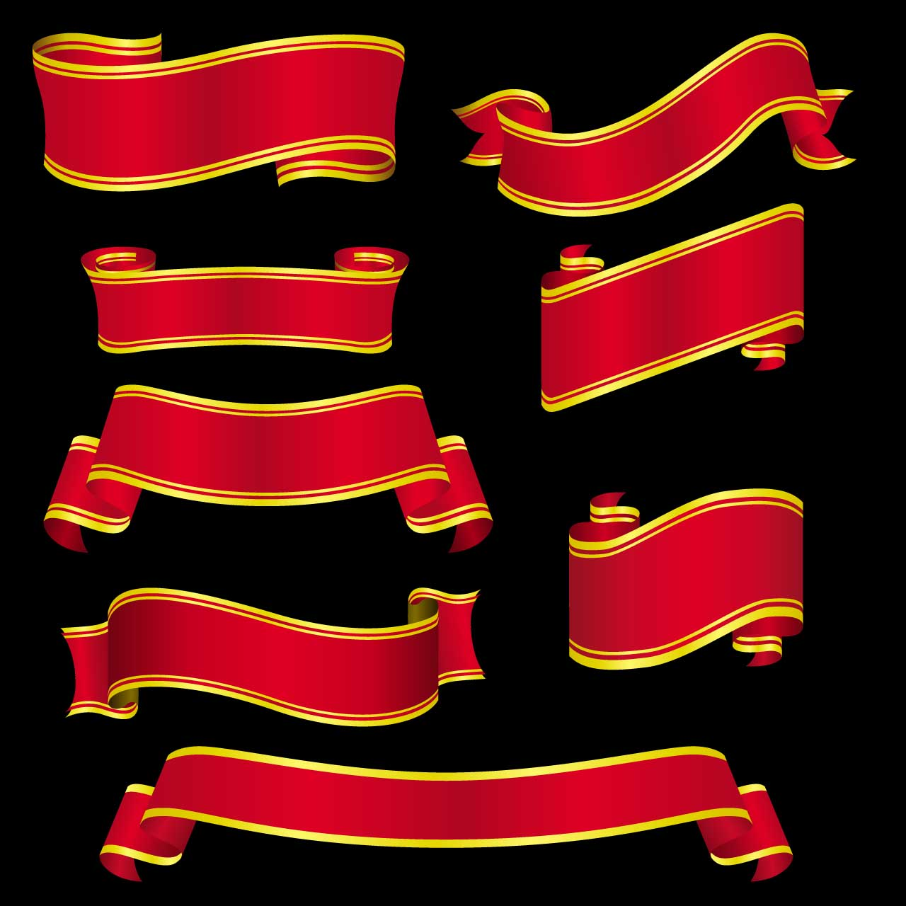 set ofe 8 red gilded ribbons vector