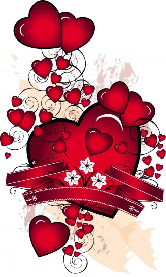Red hearts and ribbons card vector